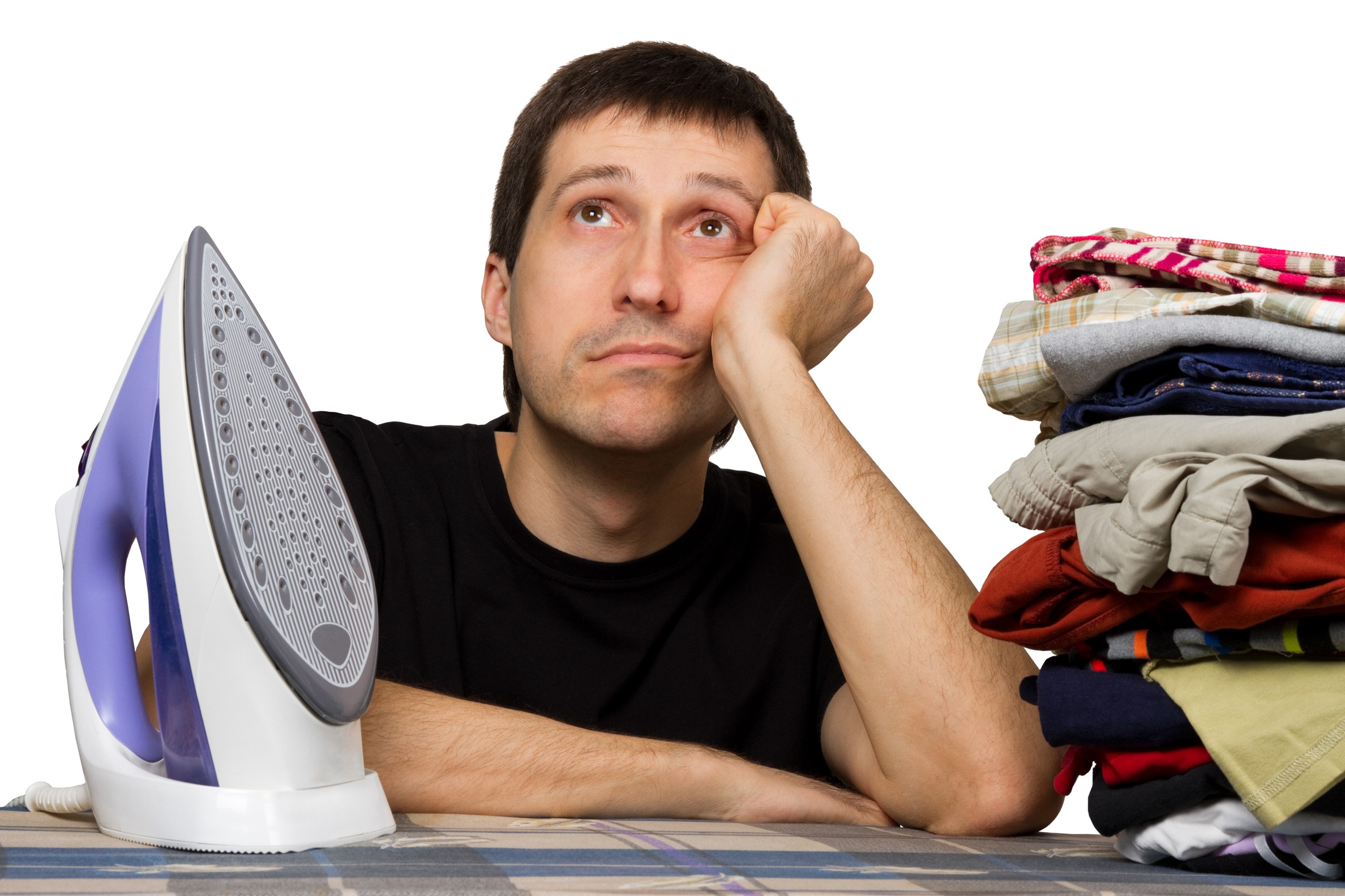 sad man, ironing board, wash clothing and iron, isolated