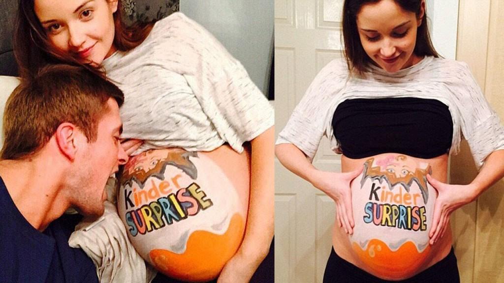 Беременная девушка и парень с арбузом 49